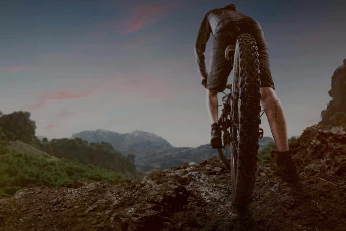 Primo piano di bicicletta noleggata da Lussari sport sul Tarvisio